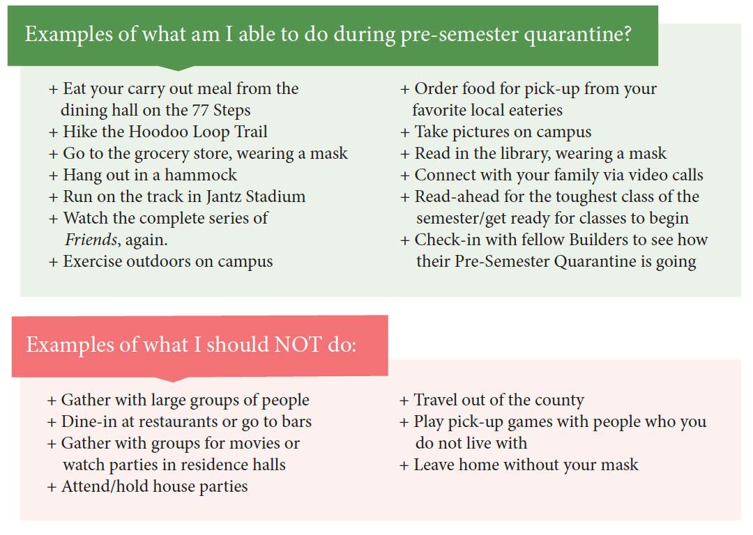 Pre-Quarantine Do's & Don'ts
