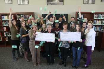 2014 grant winners with money raining down