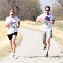 Past race director Kyle Luttgeharm and Leadership alum Scott Kuhn enjoy the 5K