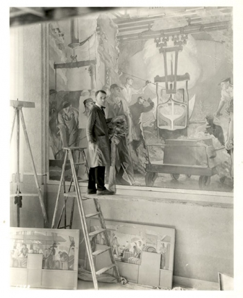 Arthur Covey - Working on Kohler Mural