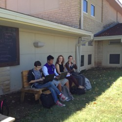 Teaching in our new outdoor classroom